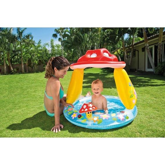 Piscina Infantil Inflável Cogumelo Com Cobertura 45 L Intex