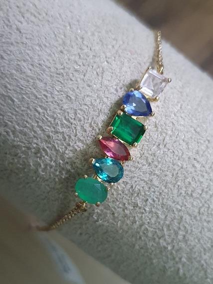 Pulseira Em Pedras Rainbow Semijoia