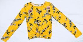 Blusa En Color Amarilla Manga Larga Estampada En Flores