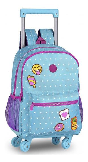 Mochila Feminina Escolar 4 Rodinhas 360 E Alça De Costas - Estampa Bolinhas E Patch Emoji C/ Cheirinho
