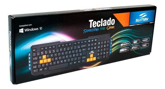Teclado Gamer Sumay Com Fio 3200dpi Sm-tg1302 Preto