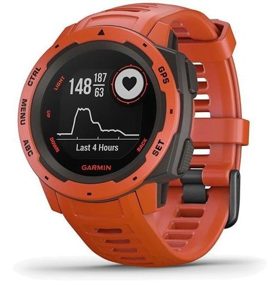 Monitor Cardíaco De Pulso Com Gps Garmin Instinct Vermelho