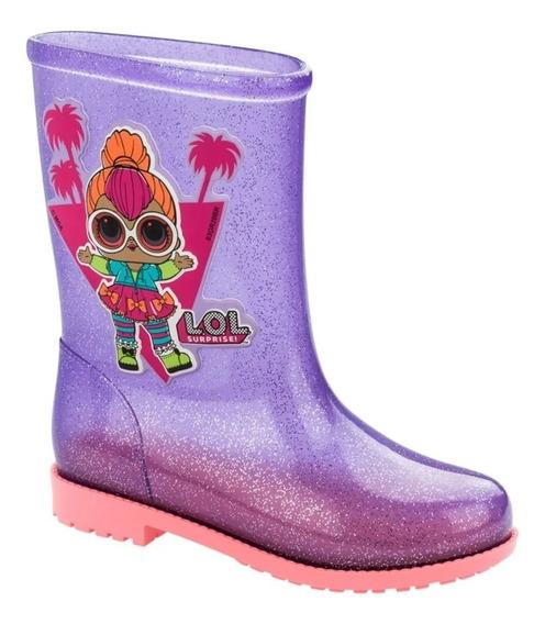 Bota Galocha Lol Gloss Vidro Rosa/lilas Glitter - Ref 22212