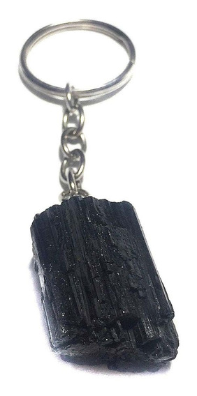 Chaveiro Turmalina Negra Pedra Natural Proteção Cristal