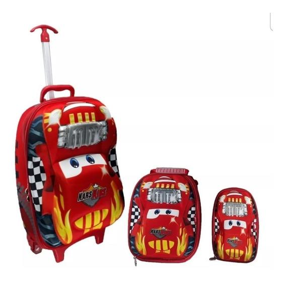 Mochila Rodinha Escolar Tam G 3d Carro Infantil Vooz Mc3685