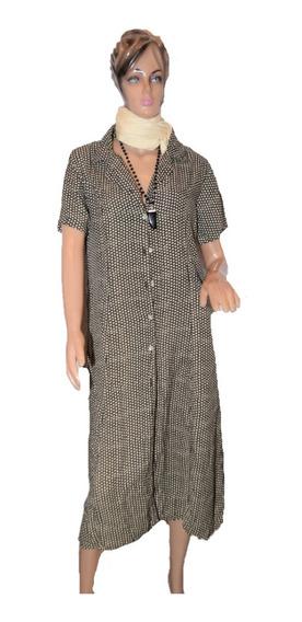 Vestido Clasico Estampado Abotonado Adelante