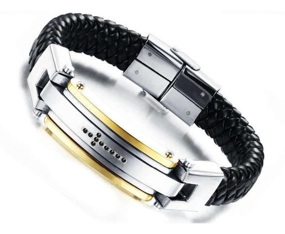Pulseira Bracelete Masculina Aço Inoxidável Luxuosa Prateada