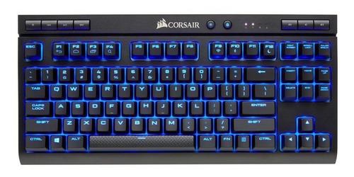 Imagen 1 de 2 de Teclado gamer bluetooth Corsair K63 Wireless QWERTY Cherry MX Red español España color negro con luz azul