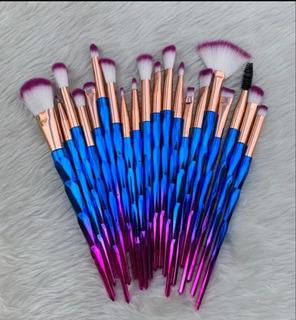 Set 20 Brochas Para Maquillaje Unicornio Azul