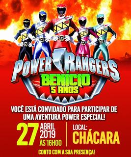 Convite De Aniversário Power Rangers