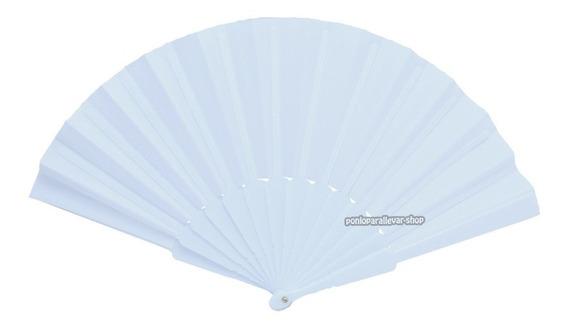 12 Abanicos Plástico Tela Blanco Recuerdo Bautizo Boda Xv A