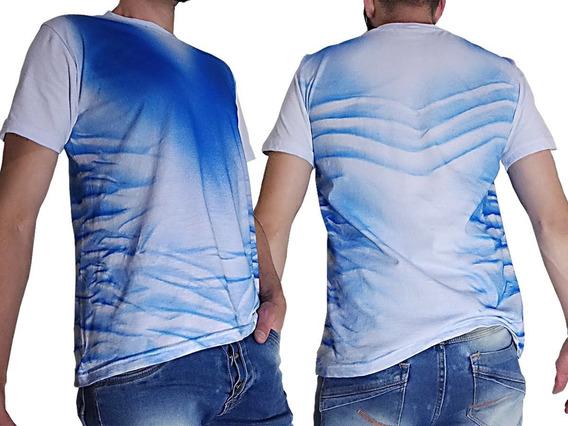 Camiseta Camisa Personalizada Estampada Branca Detalhes Azul