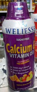 Calcium Liquido Wellesse 1000 Mg + Vitamina D3 Por 10