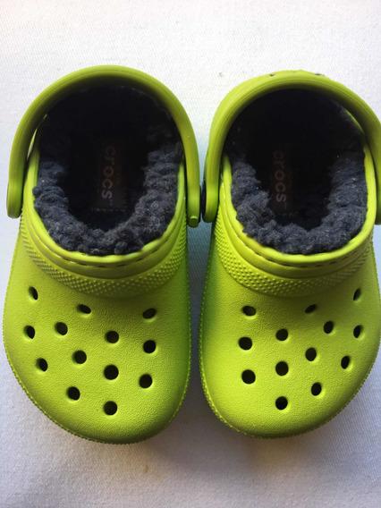Crocs Con Abrigo Niños Classic Clog Volt Green C5 Sin Uso
