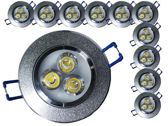 Kit 25 Spot Led 3w Redondo Carcaça Alumínio E Luz Quente M3