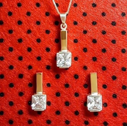 Brincos E Pingente Em Prata 925 Com Ouro E Zircônia Feminino