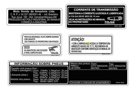 Adesivos Advertência Honda Cg 125 Fan Todas