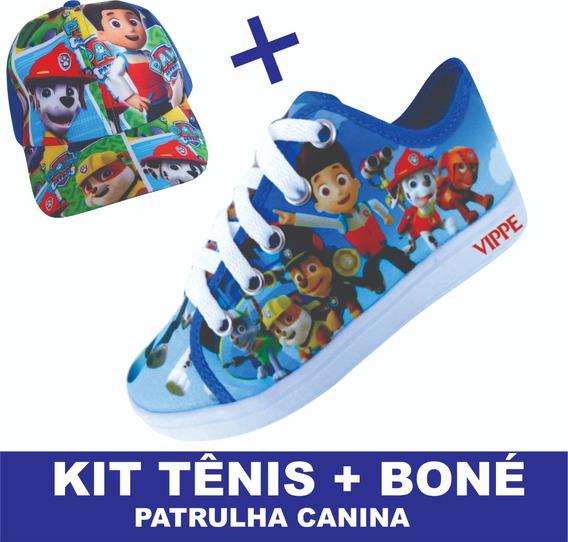 Kit Tênis Infantil Masculino Patrulha Canina + Boné E2 !