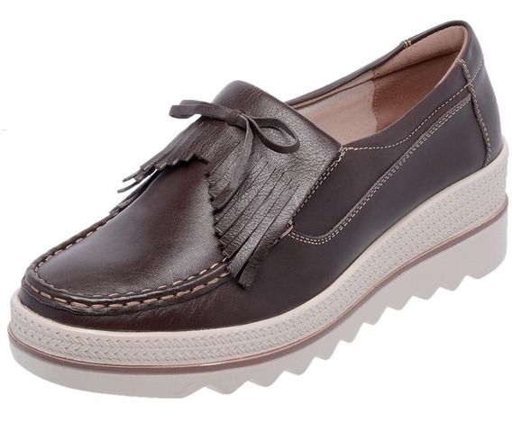 Sapato Casual Mocassim Feminino Confortável Laço Flatform