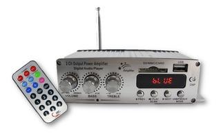 Mini Amplificador Bluetooth Usb Radio Fm Auxiliar 2 Canales