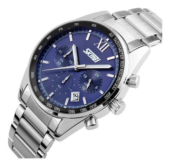 Relógio Masculino Skmei 9096 Analógico Anadigi Funcional Cronógrafo Luxo Prata Luxo Original Homem Promoção Oferta