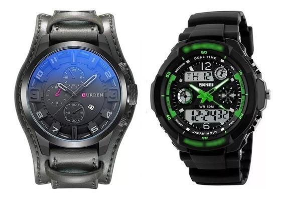 Relógio Masculino Couro Curren 8225 Skmei Digital Verde