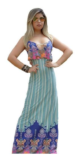 Roupas Feminina Vestido Longo Florido Moda Primavera Verão