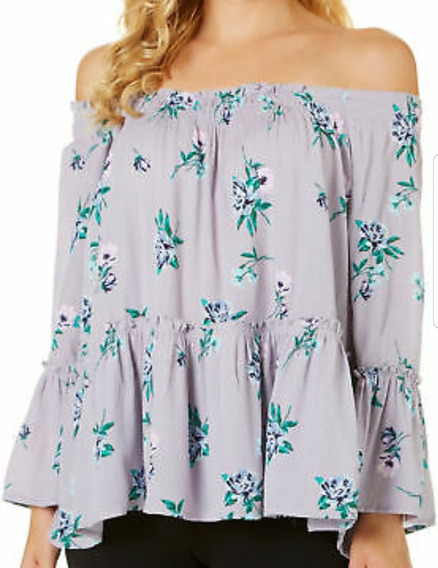 Blusa De Dama Peplum Acampanada Flores Violeta A Los Hombros