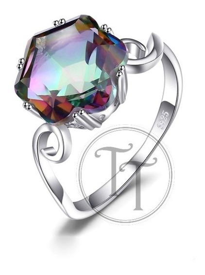 Anillo Solitario Topacio Arcoiris 5.79ct Plata Esterlina 925