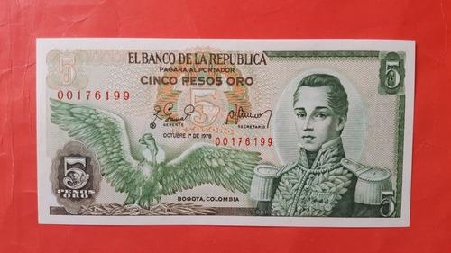 Imagen 1 de 2 de Reposición 1978 Cinco Pesos.