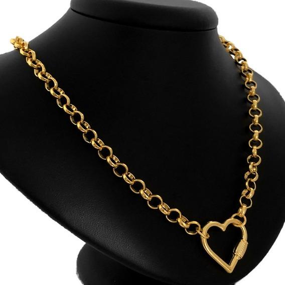 Colar Feminino Corrente Choker Coração Vazado Folheado Ouro