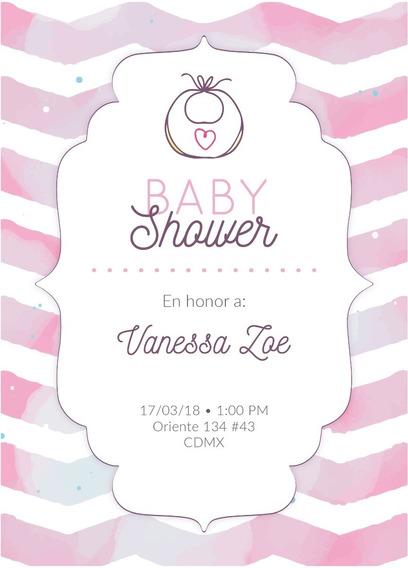 Invitacion Baby Shower Niña Personalizada Imprimible Digital