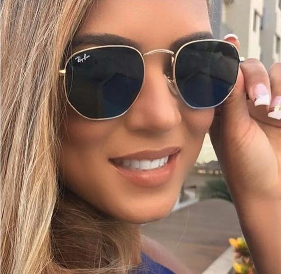 Óculos De Sol Estilo Hexagonal Metal Feminino - Masculino