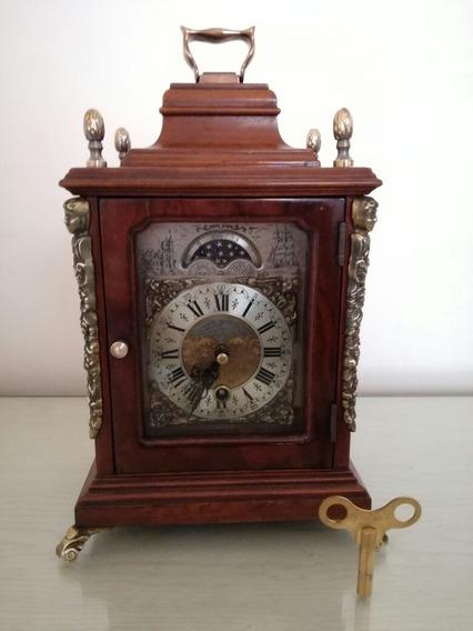 Reloj Antiguo A Cuerdas, De Mesa, Bellisimo Con Llave!!