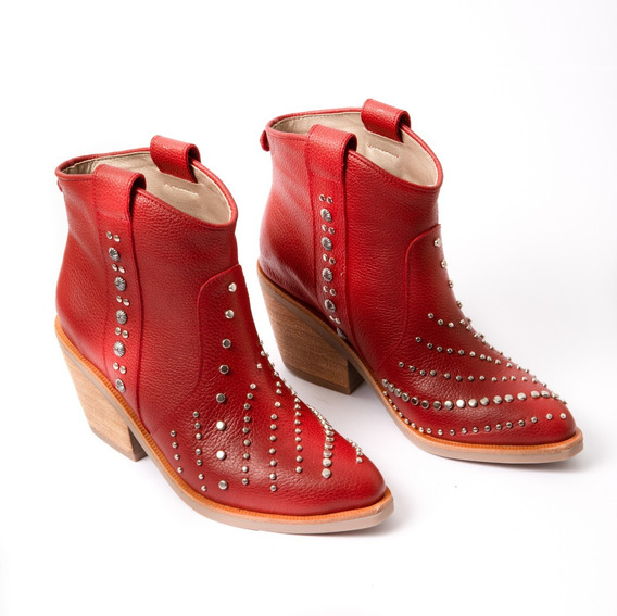 Texana Cuero Mujer Enapre Viamo 35 Al 40 Rojo Negro Hueso