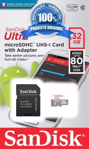 Cartão Micro Sd 32gb Sandisk Ultra Classe 10 Original
