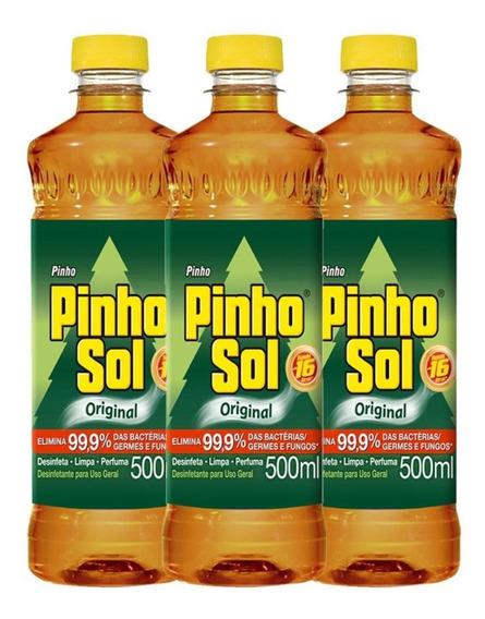 Kit Com 3 Desinfetante Pinho Sol Original 500ml Cada