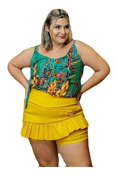 Conjunto Plus Size Feminino Blusa Estampado Short Moda Gg