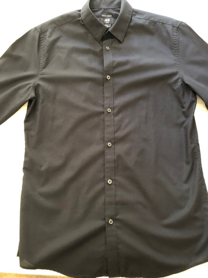 Camisa H&m Negra Slim Fit (talle Medium)