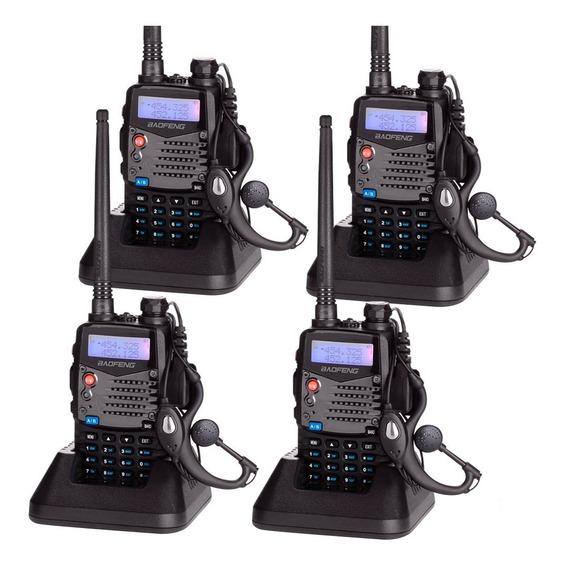 Kit 4 Unidades Handie Baofeng Bibanda Uv5ra Uhf Vhf Handy