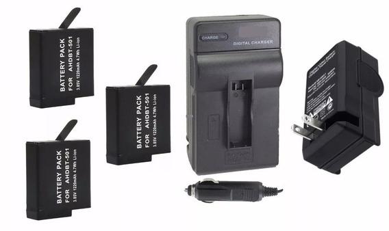 Kit 3 Baterias + 1 Carregador P/ Câmera Gopro Hero 6 Session