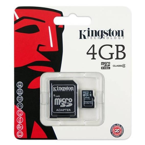 Cartão De Memória 4gb Micro Sd Com Adaptador Sd / Classe 4.