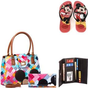 Bolsas Femininas Mickey Minnie Com Carteira Chinelo