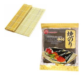 Kit Alga Marinha Nori C/50 Folhas + Esteira De Bambu Sushi
