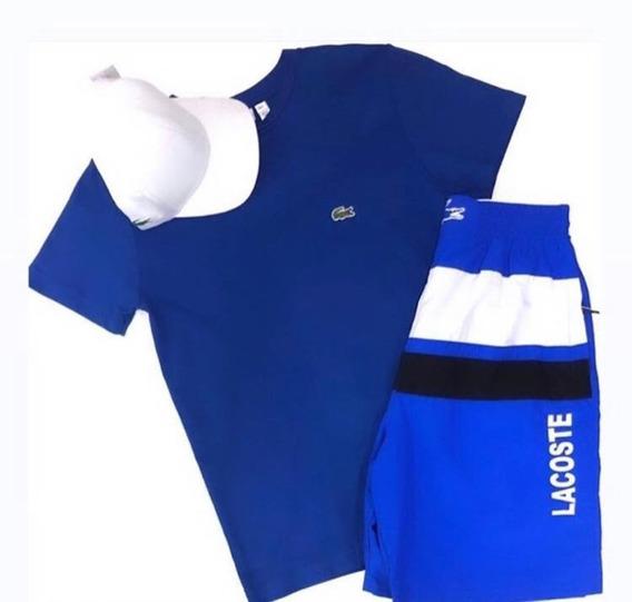 Kit P/ Homem Chique Lacoste Camiseta+bermuda