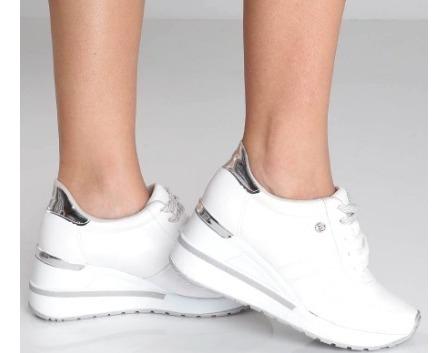 Tenis Feminino Via Marte Salto Anabela Sneaker Branco Prata