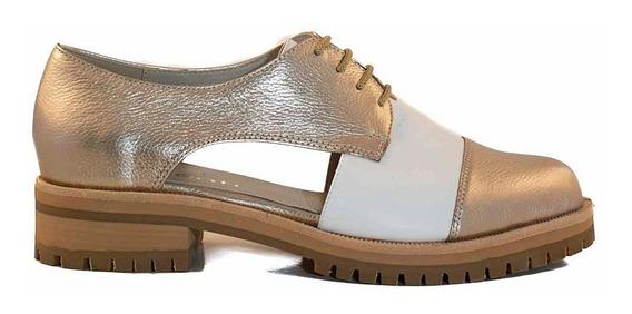 Zapato Cuero Mujer Briganti Cordon Base Goma - Mccz33056