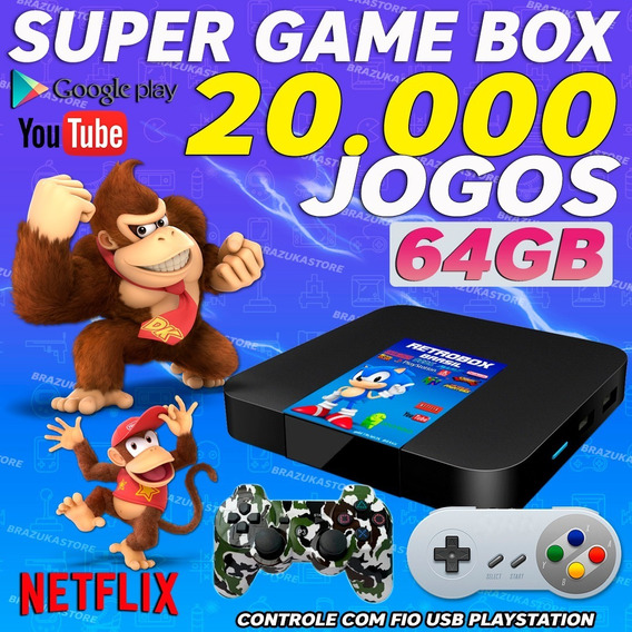 Retro Box- 20.000 Jogos,4controles - 2play3, 2snes+ Hub+4ext