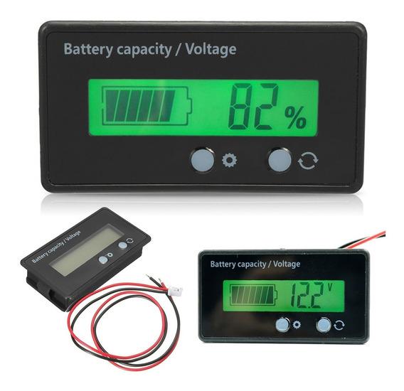 Voltímetro Dc 12v 24v 36v 48v Medidor De Porcentagem E Da Carga Bateria - Sistema Solar / Carro / Som Automotivo