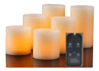 6 Velas Led Sin Olor Control Remoto Luz Natural +12 Pilas Aa